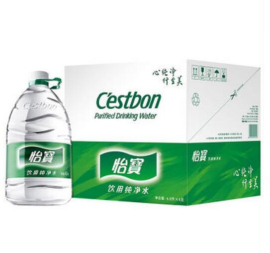 怡宝  饮用纯净水一次性瓶装4.5Lx4瓶  整箱
